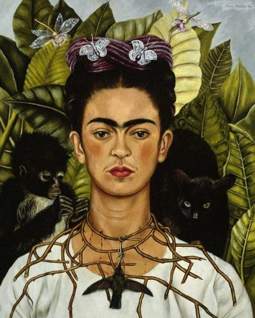 Frida Kahlo Autoritratto con collana di spine e colibrì