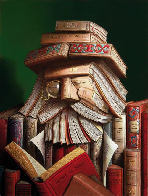 The librarian André Martins de Barros painting