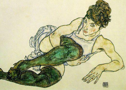 Egon Schiele Donna con calze verdi