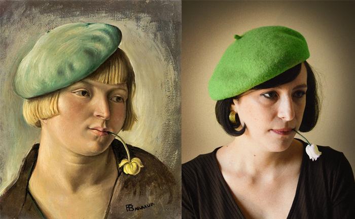 Quadro look cappello verde